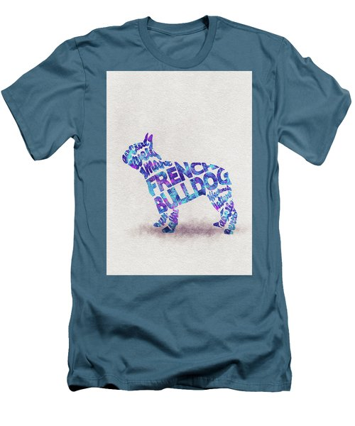 Men's T-Shirt (Athletic Fit) featuring the painting French Bulldog Watercolor Painting / Typographic Art by Ayse and Deniz