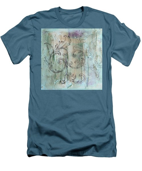 French Country Scroll In Muted Blue Men's T-Shirt (Athletic Fit)