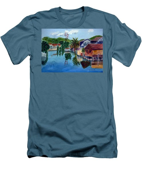 French Harbor Isla De Roatan Men's T-Shirt (Slim Fit) by Donna Walsh