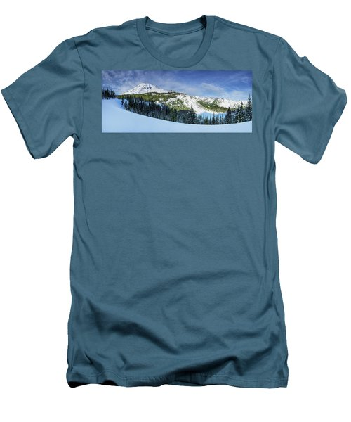 Men's T-Shirt (Athletic Fit) featuring the photograph Fresh Snow At Mount Rainier by Dan Mihai