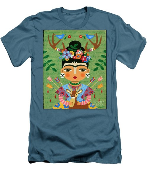LuLu Mypinkturtle 30 Mens T Shirt Athletic Fit Featuring The Painting Frida Kahlo With Antlers And