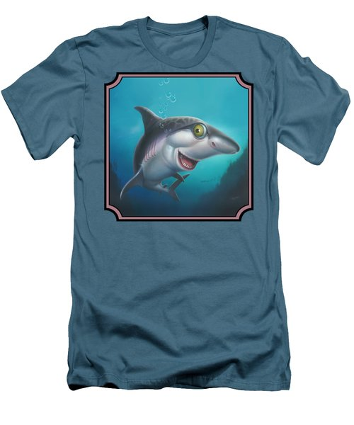 Friendly Shark Cartoony Cartoon - Under Sea - Square Format Men's T-Shirt (Slim Fit) by Walt Curlee