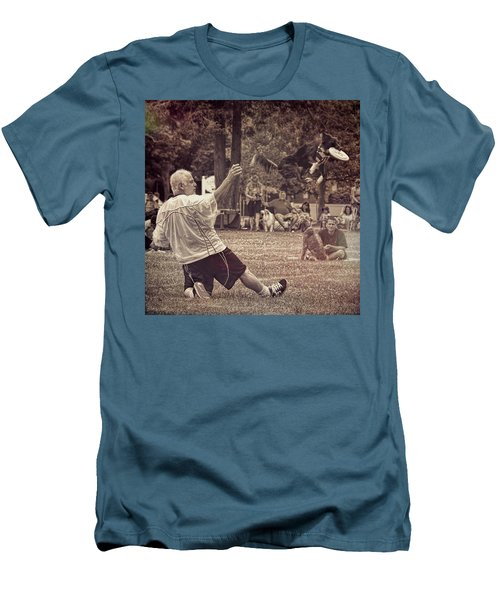 Men's T-Shirt (Athletic Fit) featuring the photograph Frisbee Catcher by Lewis Mann