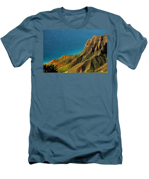 Men's T-Shirt (Slim Fit) featuring the photograph From The Hills Of Kauai by Debbie Karnes