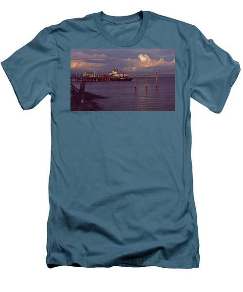 Men's T-Shirt (Slim Fit) featuring the photograph Fuel Dock, Port Townsend by Laurie Stewart