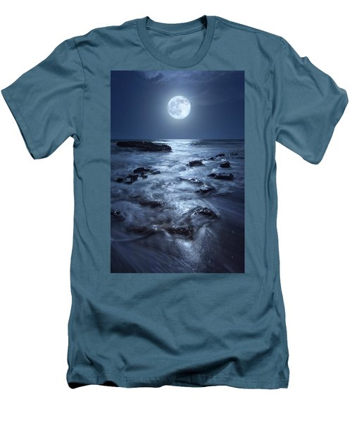 Men's T-Shirt (Slim Fit) featuring the photograph Full Moon Rising Over Coral Cove Beach In Jupiter, Florida by Justin Kelefas