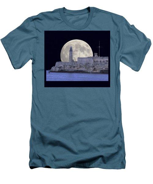 Full Moonrise Over The Castillo De Los Tres Reyes Magos Del Morro, Havana, Cuba Men's T-Shirt (Athletic Fit)
