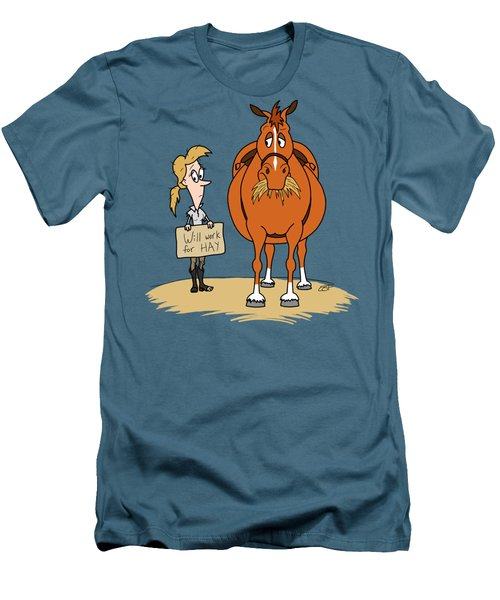 Funny Fat Cartoon Horse Woman Will Work For Hay Men's T-Shirt (Athletic Fit)