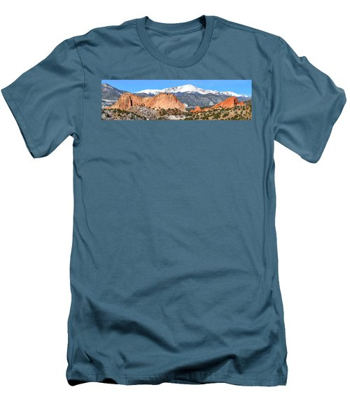 Men's T-Shirt (Slim Fit) featuring the photograph Garden Of The Gods Panorama by Adam Jewell