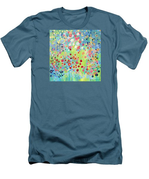 Men's T-Shirt (Slim Fit) featuring the painting Garden's Delight by Stacey Zimmerman