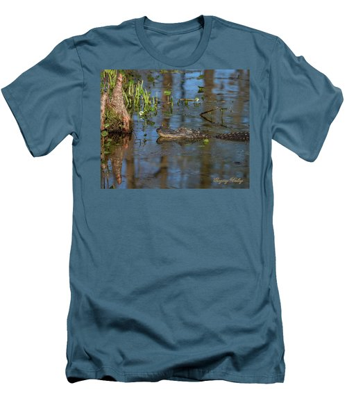 Men's T-Shirt (Slim Fit) featuring the photograph Gator In Cypress Lake 3 by Gregory Daley  PPSA