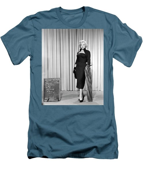 Men's T-Shirt (Athletic Fit) featuring the photograph Gentlemen Prefer Blondes Staring Marilyn Monroe by R Muirhead Art