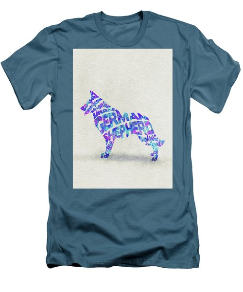 Men's T-Shirt (Athletic Fit) featuring the painting German Shepherd Dog Watercolor Painting / Typographic Art by Ayse and Deniz