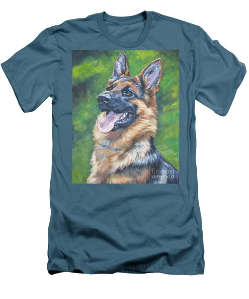 German Shepherd Head Study Men's T-Shirt (Slim Fit) by Lee Ann Shepard