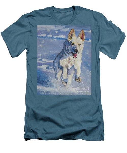 German Shepherd White In Snow Men's T-Shirt (Slim Fit) by Lee Ann Shepard