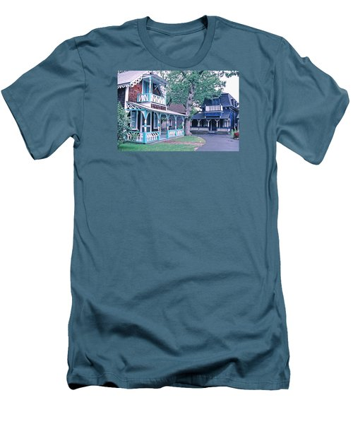 Men's T-Shirt (Slim Fit) featuring the photograph Gingerbread Houses Oak Bluff Martha's Vineyard by Tom Wurl