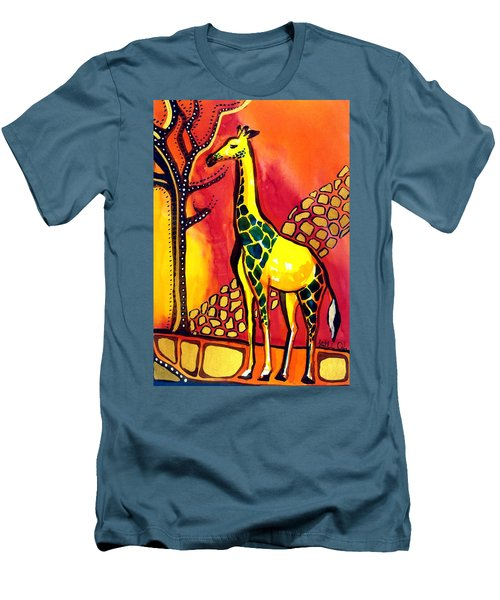 Giraffe With Fire  Men's T-Shirt (Athletic Fit)