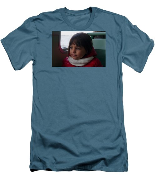 Men's T-Shirt (Slim Fit) featuring the photograph Girl On A Water Taxi  by Laura Ragland