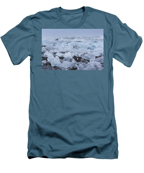 Men's T-Shirt (Slim Fit) featuring the tapestry - textile Glacier Ice by Kathy Adams Clark