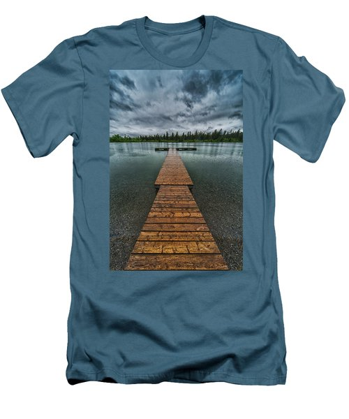 Men's T-Shirt (Slim Fit) featuring the photograph Gloomy Rainy Day On Norbury Lake by Darcy Michaelchuk
