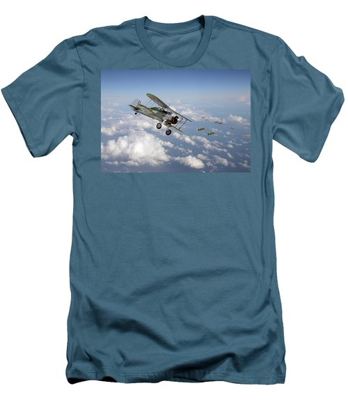 Men's T-Shirt (Slim Fit) featuring the digital art  Gloster Gladiator - Malta Defiant by Pat Speirs