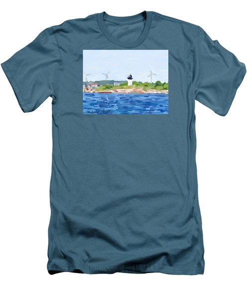 Gloucester Skyline From Harbor With Windmills And Ten Pound Island Lighthouse Men's T-Shirt (Slim Fit) by Melissa Abbott