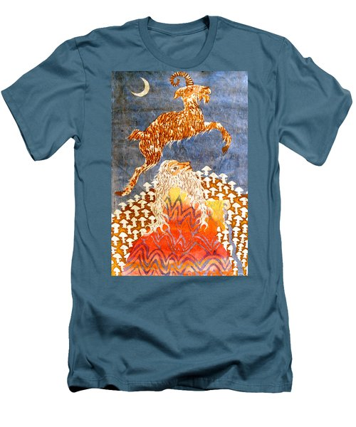 Goat Leaping Over Wood Elf Men's T-Shirt (Athletic Fit)