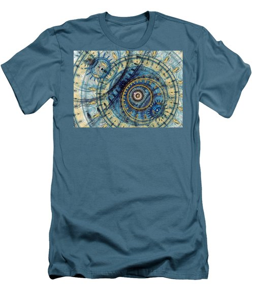 Golden And Blue Clockwork Men's T-Shirt (Slim Fit) by Martin Capek