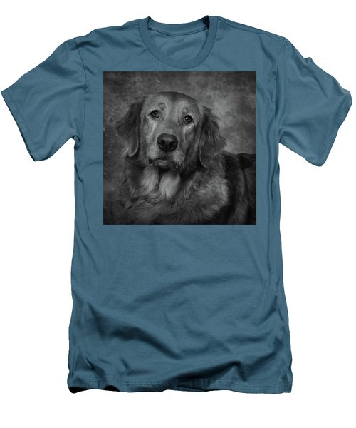 Golden Retriever In Black And White Men's T-Shirt (Slim Fit) by Greg Mimbs