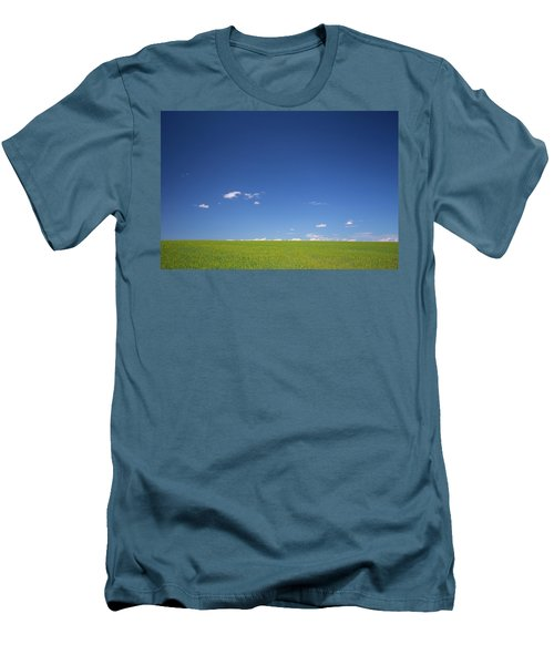 Golden Yellow Of Big Wheat Field,meadows And Closeup Seed With B Men's T-Shirt (Athletic Fit)