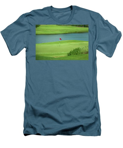 Golf Approaching The Green Men's T-Shirt (Slim Fit) by Chris Flees