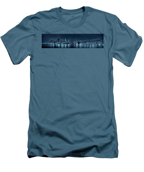 Gotham City Skyline Men's T-Shirt (Slim Fit) by Sebastien Coursol