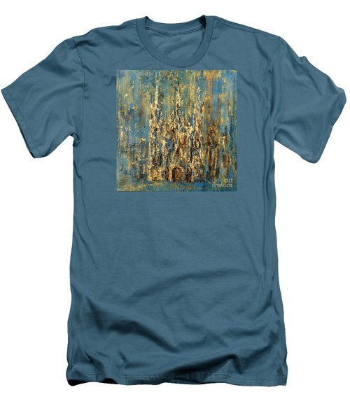 Men's T-Shirt (Slim Fit) featuring the painting Gothic Church  by Arturas Slapsys
