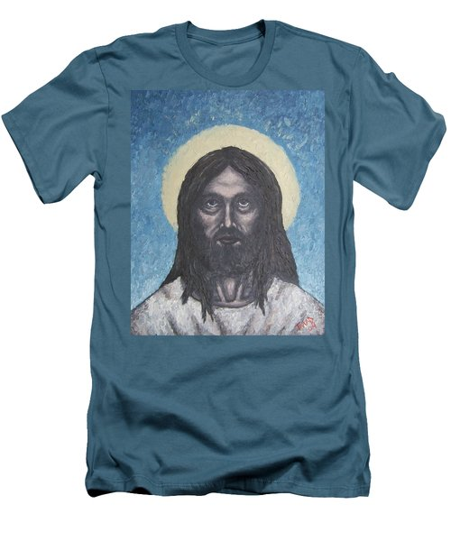 Men's T-Shirt (Slim Fit) featuring the painting Gothic Jesus by Michael  TMAD Finney
