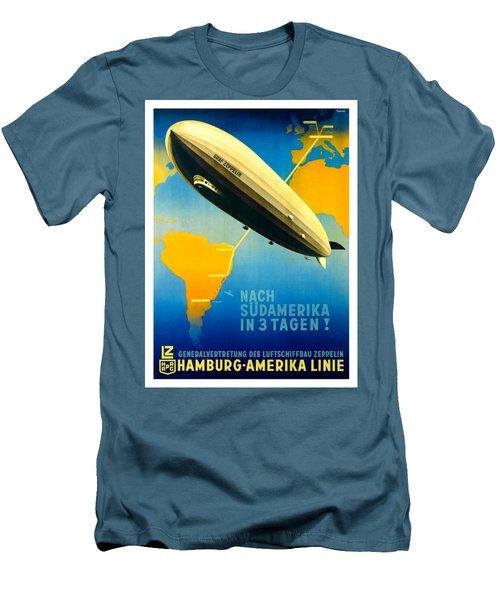 Graf Zeppelin Hamburg Amerika Line II 1936 Ottomar Anton Men's T-Shirt (Slim Fit) by Peter Gumaer Ogden Collection