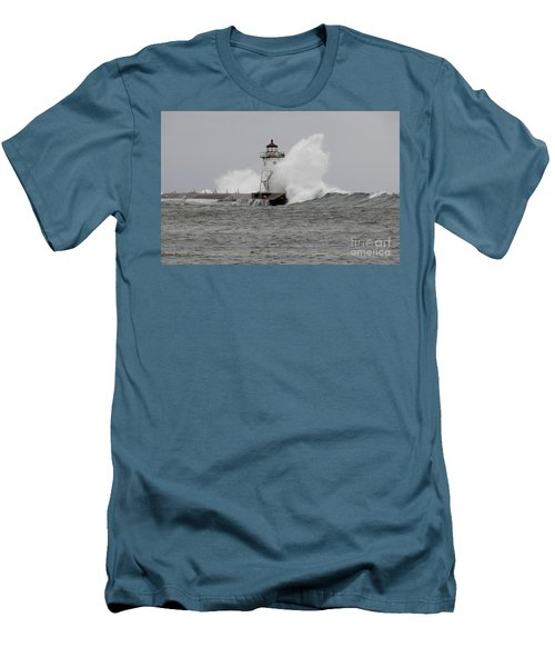 Grand Marais Lighthouse Men's T-Shirt (Slim Fit) by Sandra Updyke