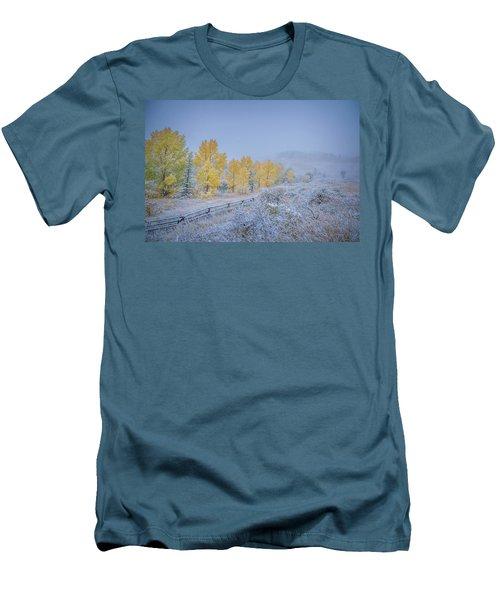 Grand Teton Fall Snowfall Scene Men's T-Shirt (Athletic Fit)