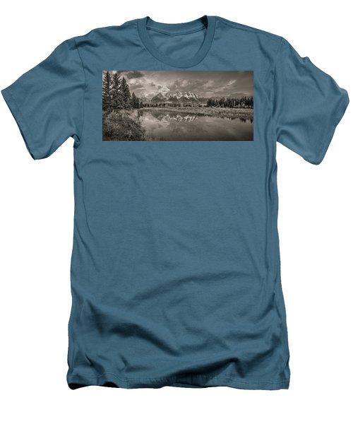 Grand Teton Monochromatic Panoramic Men's T-Shirt (Athletic Fit)