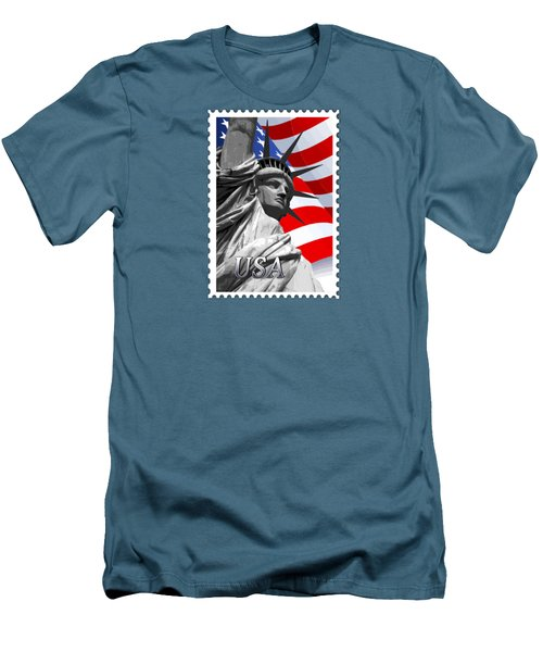Graphic Statue Of Liberty With American Flag Text Usa Men's T-Shirt (Slim Fit) by Elaine Plesser