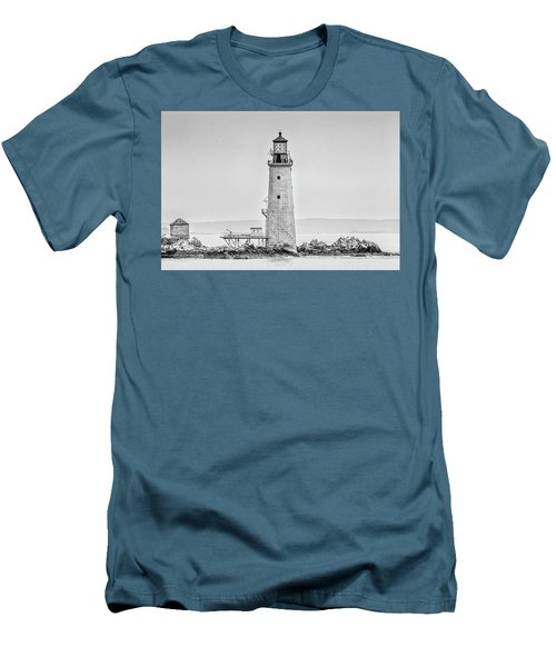 Graves Lighthouse- Boston, Ma - Black And White Men's T-Shirt (Athletic Fit)