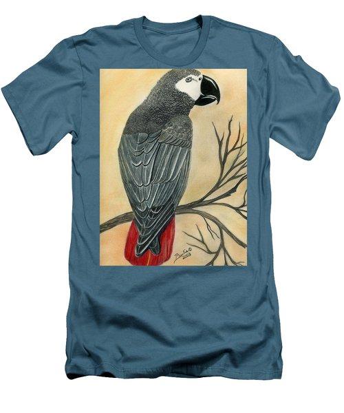 Gray Parrot Men's T-Shirt (Slim Fit)