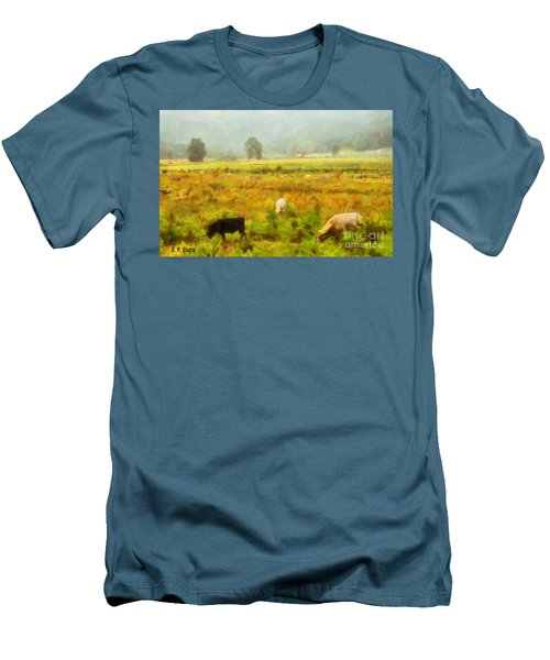Men's T-Shirt (Slim Fit) featuring the painting Grazing by Elizabeth Coats