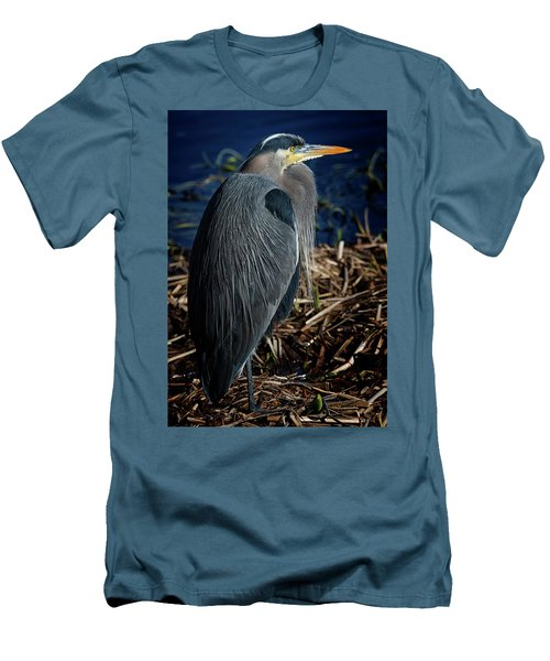 Men's T-Shirt (Slim Fit) featuring the photograph Great Blue Heron 2 by Randy Hall