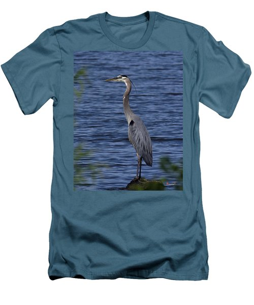 Men's T-Shirt (Slim Fit) featuring the photograph Great Blue Heron Dmsb0001 by Gerry Gantt