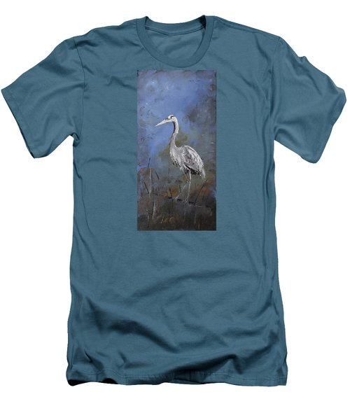 Great Blue Heron In Blue Men's T-Shirt (Slim Fit) by Carolyn Doe