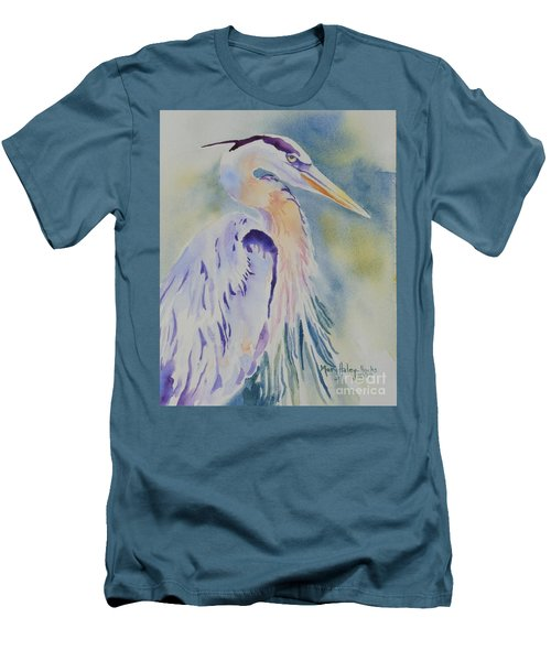 Men's T-Shirt (Slim Fit) featuring the painting Great Blue Heron by Mary Haley-Rocks