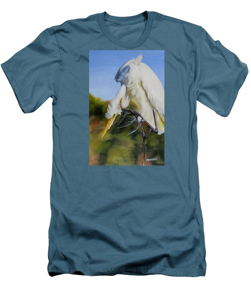 Great Egret In Fall Men's T-Shirt (Slim Fit) by Phyllis Beiser