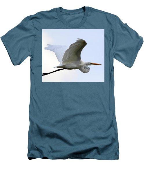 Great Egret Port Jefferson New York Men's T-Shirt (Slim Fit) by Bob Savage