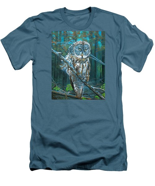 Men's T-Shirt (Slim Fit) featuring the painting Great Grey Owl by Sharon Duguay