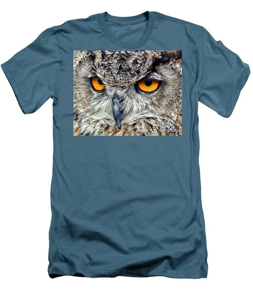 Great Horned Owl Closeup Men's T-Shirt (Slim Fit) by Jim Fitzpatrick
